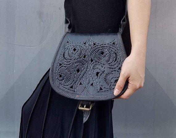 "SALE 40% Bohemian leather bag tooled bag tribal bag 12.5""x17.7"" gipsy boho chic festival genuine leather cross body purse rustic"