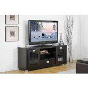 Baxton Studio Matlock Modern Espresso TV Stand with Glass Doors Image 1 of 3