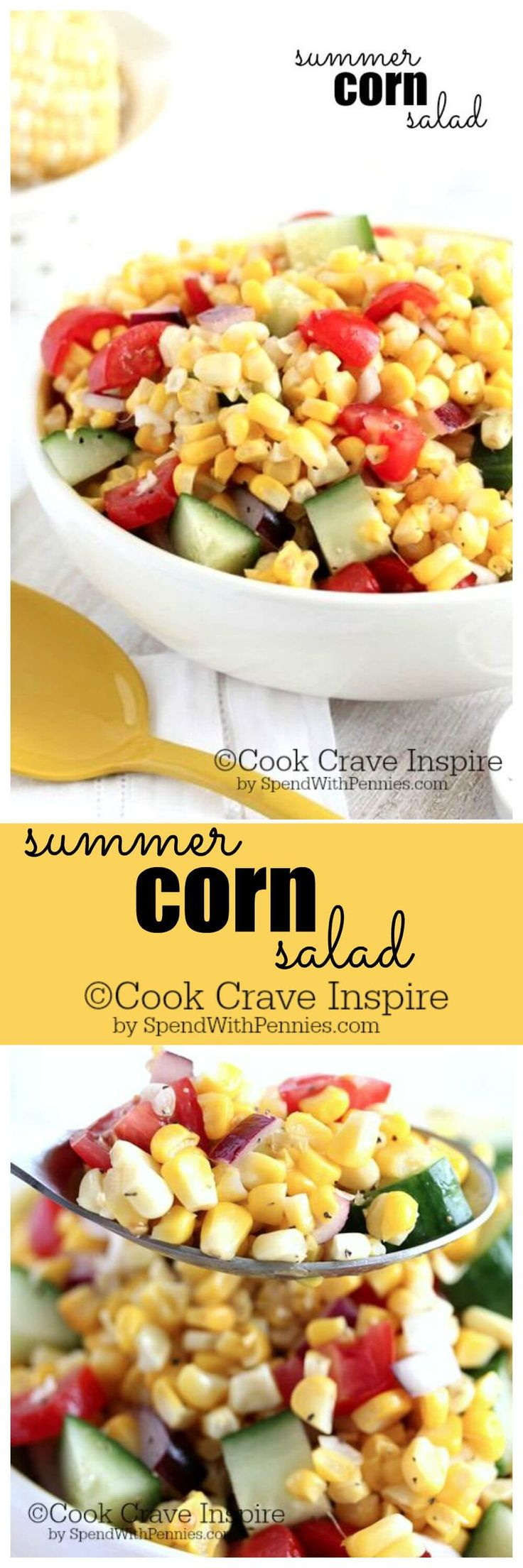 Summer Corn Salad!  This recipe is simply delicious and quick!  The perfect way to enjoy fresh summer corn and tomatoes.