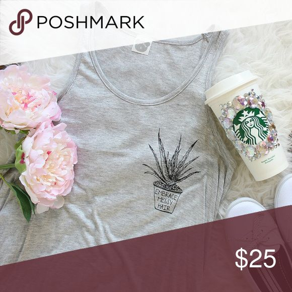 "(S,M,L) 🌿 Embrace Messy Hair Tank ✅ Boutique item prices are firm unless bundled  ✅20% off bundles 2+ ✅Color may vary due to different device color calibrations ❌ No trades ❌ No transactions off Poshmark ❌ No offers on bundled   💗 Made in USA, flowy fit, curved hem 💗 95% Rayon 5% Spandex  💗 Hand wash cold, line dry  APPROXIMATE MEASUREMENTS  S: Bust 32"" Length 27"" M: Bust 34"" Length 28"" L: Bust 36"" Length 29"" Tops Tank Tops"