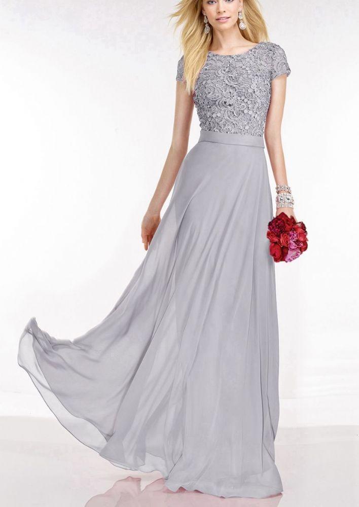 0eab78474970e Feminine full length lace chiffon dress Beautiful round neckline short  sleeve bodice with a floral lace overlay embellished with subtle beading and