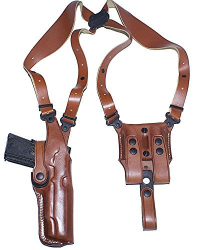 Premium Leather Vertical Shoulder Holster System for BERETTA 92FS VERTEC Right Hand Draw, Brown