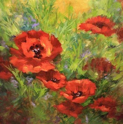 Summer Sun Poppies by Texas Flower Artist Nancy Medina, painting by artist Nancy Medina