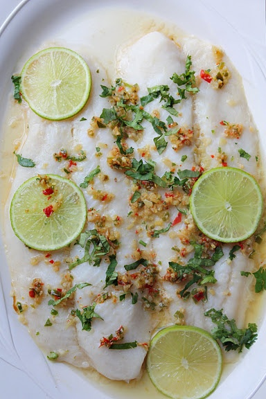 Steamed Fish with Lime, Garlic, and Chilies