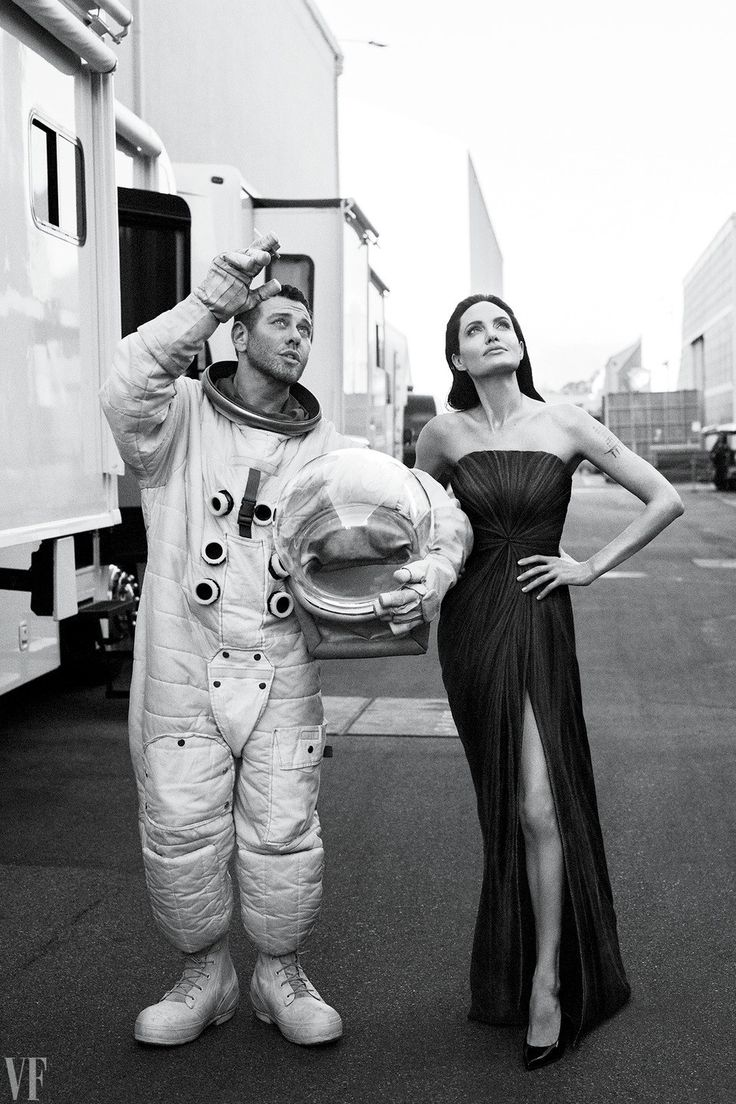 JOLIE'S JOURNEY Angelina Jolie, here with photographer Mert Alas (who tried on an astronaut costume), photographed at Warner Bros. Studio, in Burbank, California.