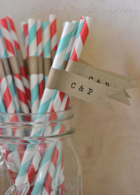 Red and Turq Straws with Kraft Flags by bbond0520 on Etsy, $0.75