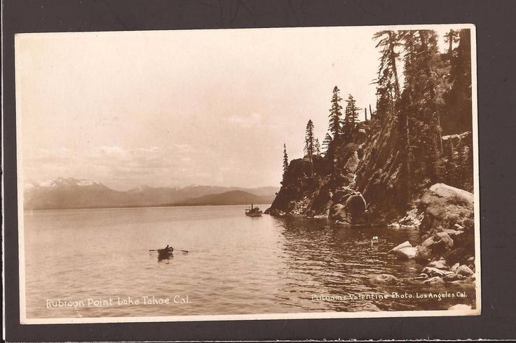 """Postcard is in nice used condition. Shows a little corner & surface wear. See Pics.<br/><br/>Pub. Putnam & Valentine Photo Los Angeles, Cal. Rubicon Point Lake Tahoe, Cal. Real PhotoPostcard. This3 1/2x5 1/2"""" Standard Size postcardis in niceusedcondition. SeePicture. Early Stamp Box in the back. Card isclearer than thescans show. ..."""