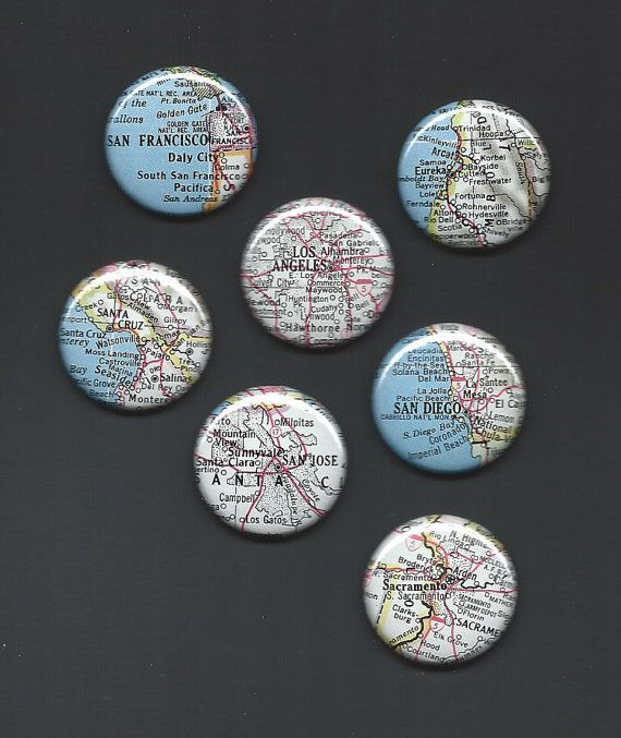 California Cities  Set of 7 Map Pinback buttons by RetroMagnifico