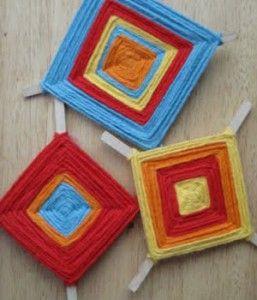 What a cute idea. Cinco de Mayo Craft Idea: A Colourful Ojo de Dios - Easy, fun craft for kids!