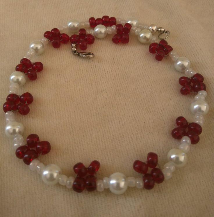 Genuine Red Garnet Stone & White Pearl Choker by SassieDiva on Etsy