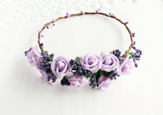 Purple Floral Crown Lilac Rose Crown Boho Crown by HandyCraftTS