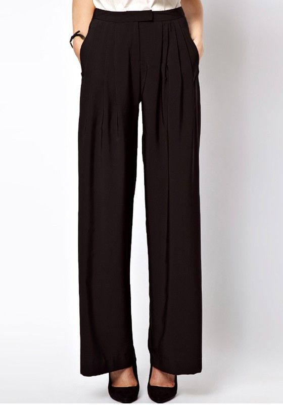 Black Low Waist Button Fly Flax Blend Pants