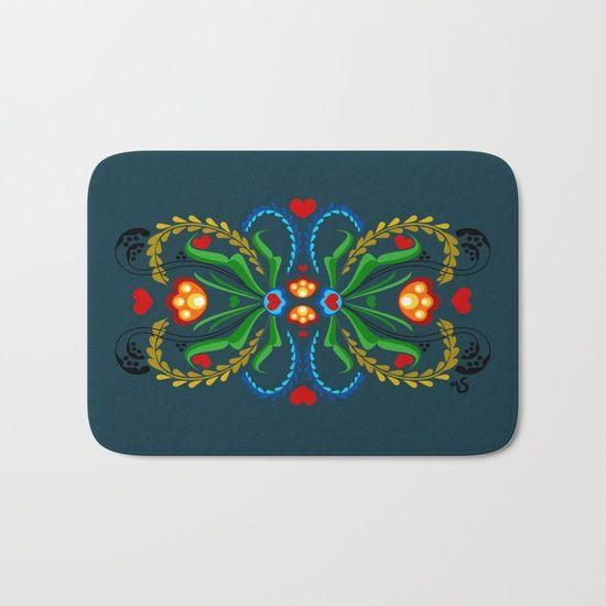 Scandinavian Folk Art ~ Tulip. Home Decor. Norwegian vector art. Bath mat.