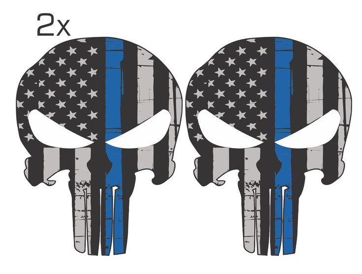 Blue Line Black and Grey Tattered Punisher Skull Decal Pack of 2