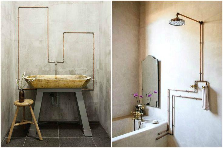 Медные трубы в интерьере ванной комнаты #дизайн #интерьер #декор #медь #медный