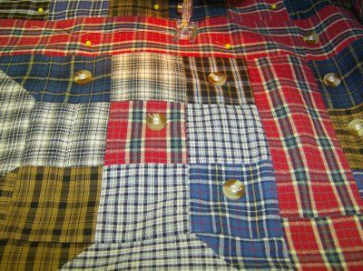 Seven Shirts + Seven Steps = One Thrifty Quilt..and using the buttons to quilt it : )