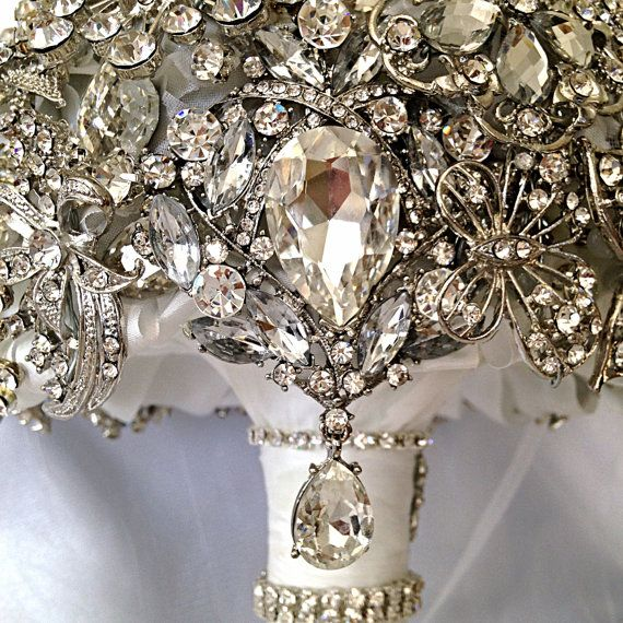 Wedding Brooch Bouquet. Deposit on made to order Crystal Bling Brooch Bouquet. Diamond Jeweled Bridal Broach Bouquet on Etsy, $55.00