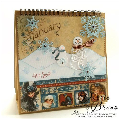 Holiday Calender page using @Spellbinders Mr. & Mrs Snowman, 2013 Snowflake Pendant and A2 Curved Borders One