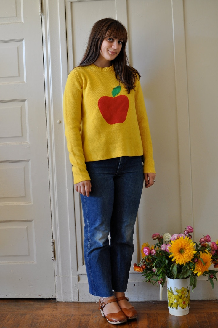 80s Yellow Sweater with Red Apple Print. $25.00, via Etsy.