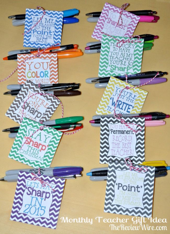 Back To School Monthly Teacher Gift Idea {Includes Printable}