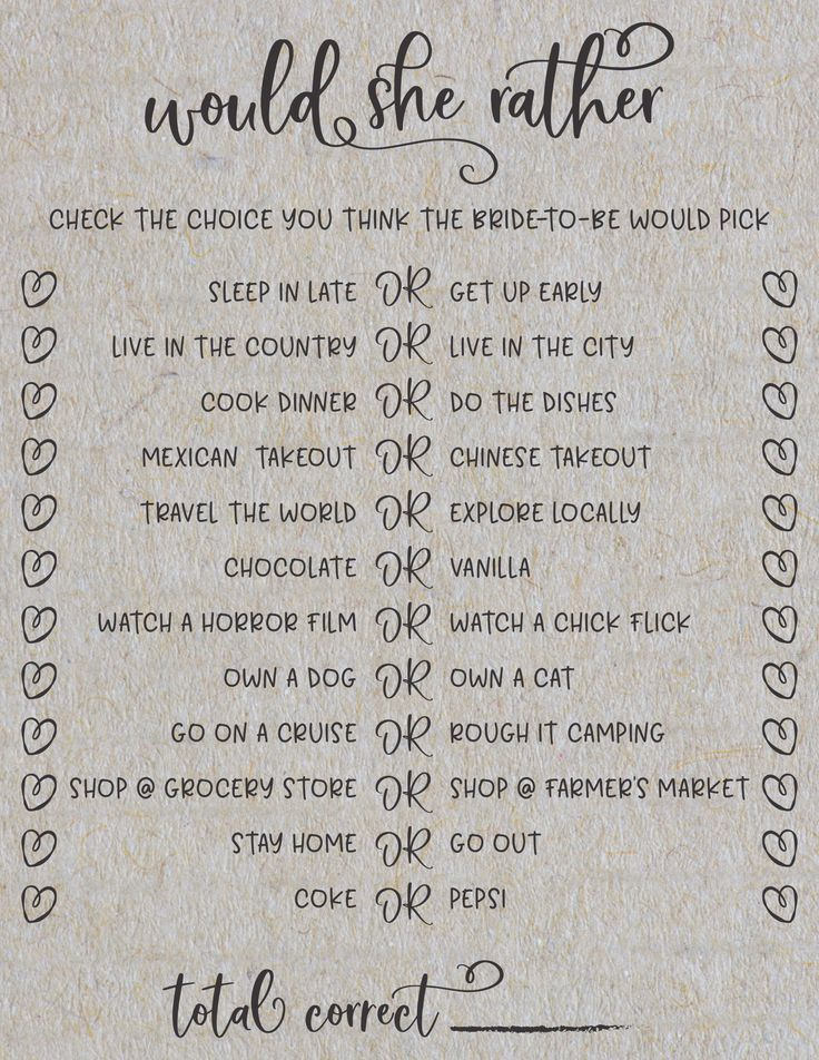 Would She rather? Grey Bridal Shower Games. Great way to see how well you know the bride-to-be!