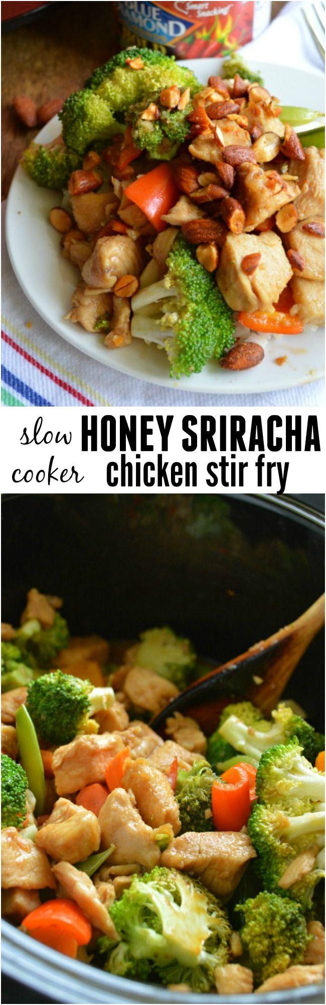 Slow Cooker Honey Sriracha Chicken Stir Fry - Sugar Dish Me