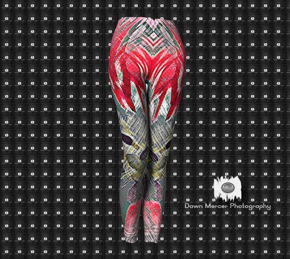 Funky Art Leggings Funky Abstract Leggings Yoga by DawnMercerPhoto