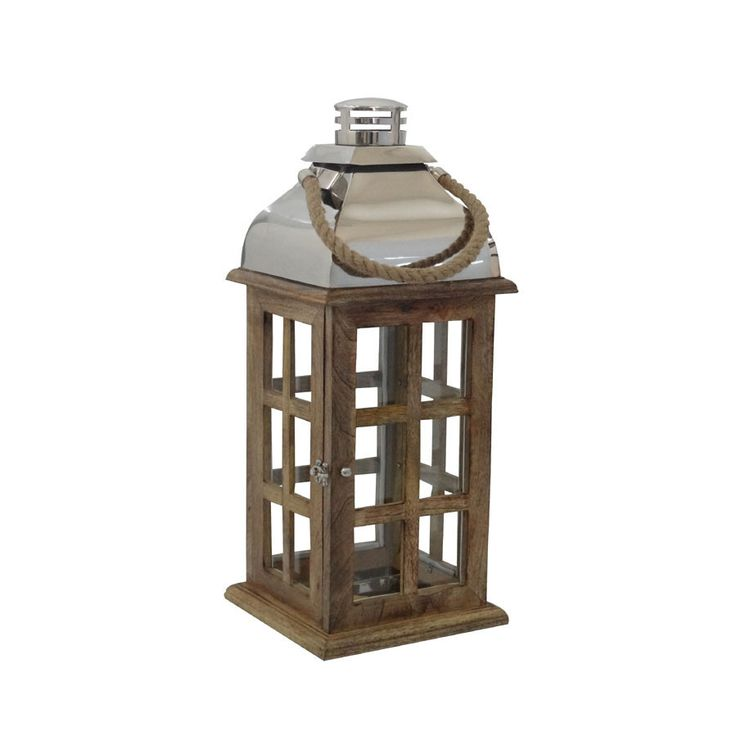 Estate Lantern - Mango Wood with Rope Handle-  Hauser Stores