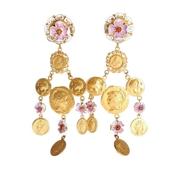 Dolce & Gabbana  Gold Brass Religious Charms Dangling Clip On Earring  €378.00 / Was €940.00