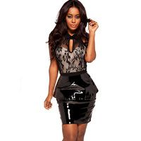 'Tierra'  Black Lace and Patent Leather Halterneck Dress - SALE