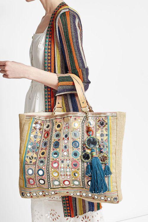 Embellished Jute Bag with Tassels | Star Mela