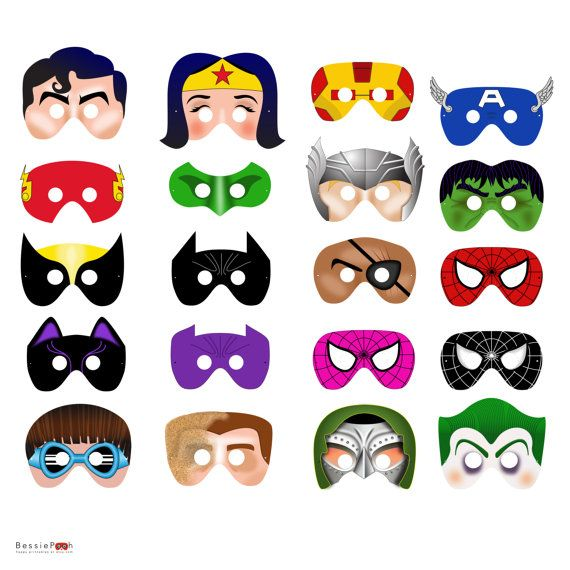 Máscaras Súper Héroes para pintar. www.fiestastempranito.com/contacto    Printable SUPERHERO MASKS printable .pdf files. Craft Project. All 20 characters.