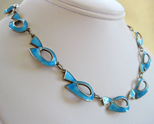 Sterling Enamel Norway Ivar Holt Modernist Necklace Stunning from quick-red-fox on Ruby Lane