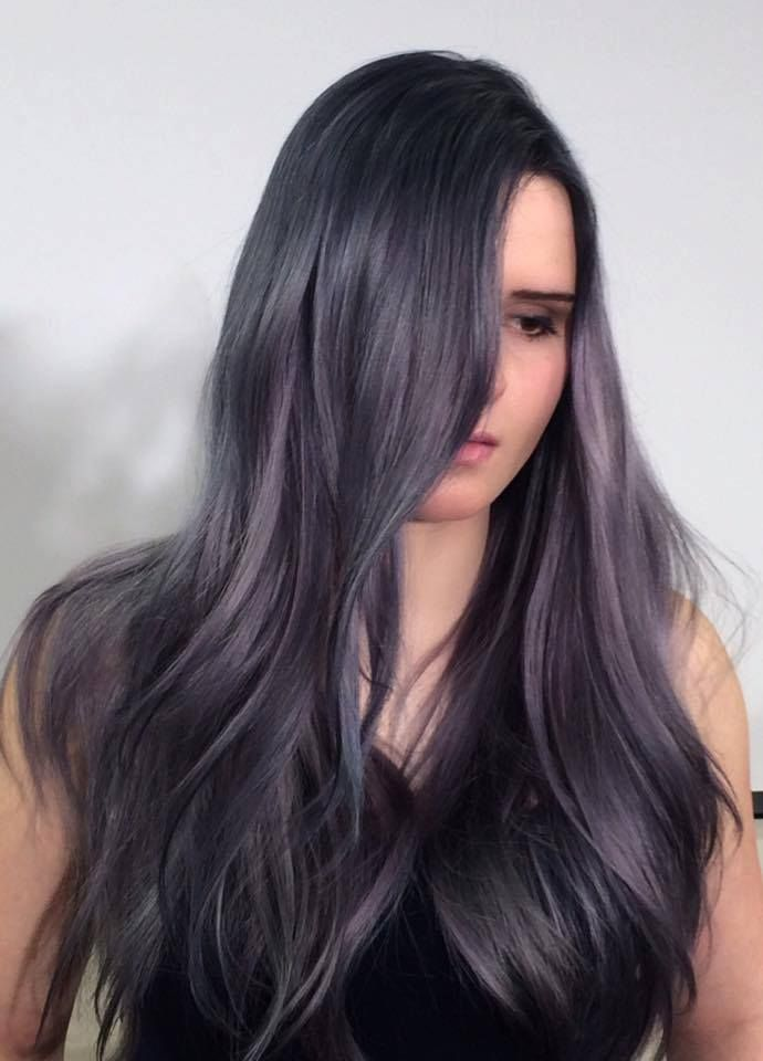 Dark Gray With Purple Hair Color Cut And Dyed