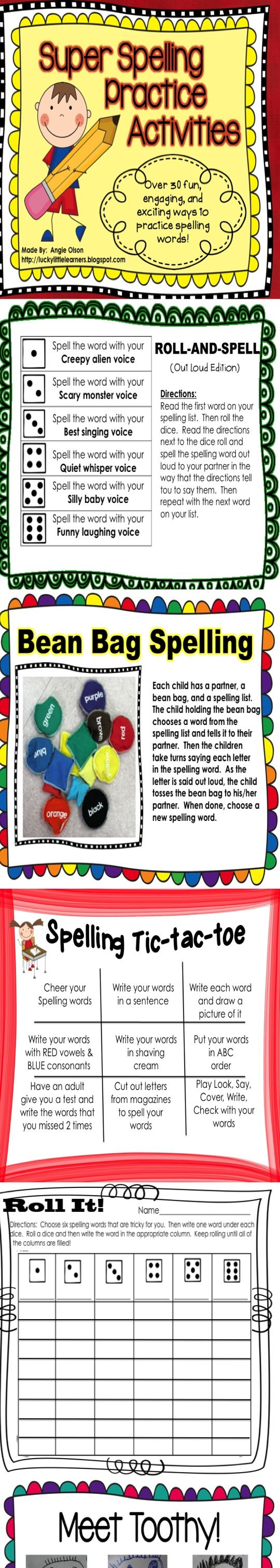 My kids love these spelling activities!  This product contains over 30 different ways to practice spelling in a fun, engaging, and effective way.  I have also included 36 different homework activities to practice spelling words!