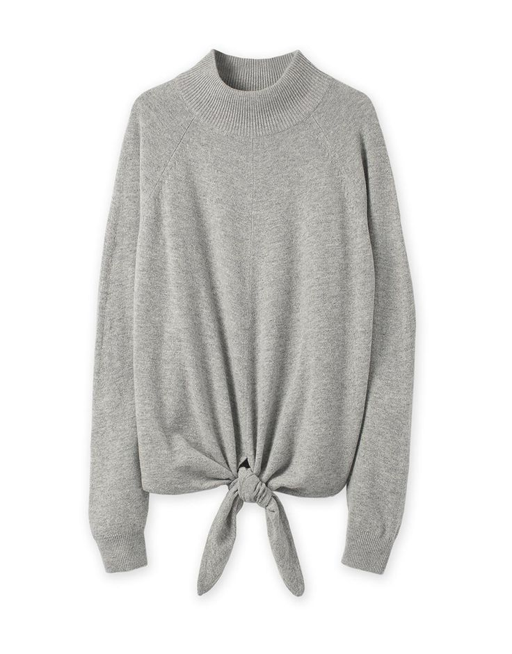 Tie Front Roll Neck Knit