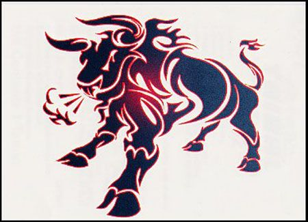 Angry Taurus Bull Tattoo Design With Red Horns: Real Photo ...