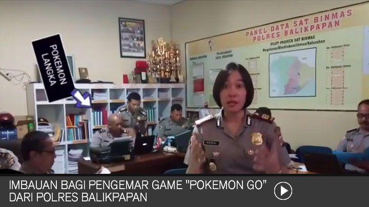 """Imbauan Bagi Pengemar Game """"POKEMON GO"""" dari Polres Balikpapan"""