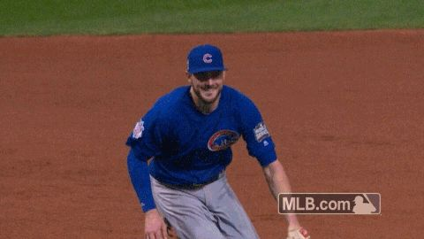 mlb baseball celebration throw champions cubs chicago cubs world series bryant cubbies 2016 world series game 7 kris bryant cubs win the world series last out winning out last play trending #GIF on #Giphy via #IFTTT http://gph.is/2efRpV5
