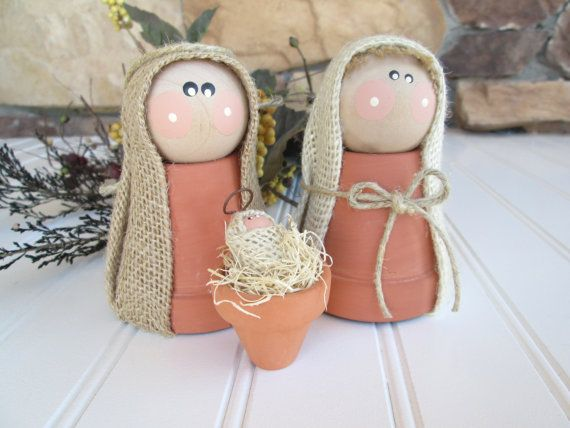 nativity set clay nativity nativity scene por whimsysweetwhimsy                                                                                                                                                                                 Más