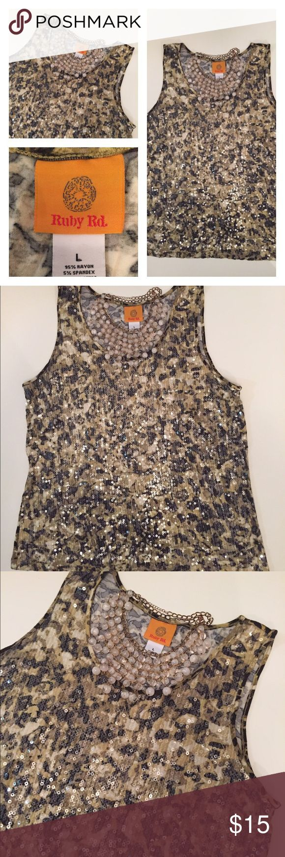 Ruby Rd Camouflage Sequin Tank Top Large Amazing knit tank top full of sequins by Ruby Rd.  Camouflage print.  Size: large. ruby rd Tops Tank Tops
