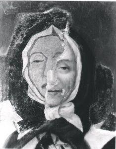Le portrait post mortem de Marguerite Bourgeoys est la seule représentation contemporaine de cette femme qui a joué un rôle remarquable dans l'histoire de Montréal au XVIIe siècle. Peint en 1700 par Pierre Le Ber, l'œuvre est conservée depuis ce temps par la Congrégation de Notre-Dame et est actuellement exposée au Musée Marguerite-Bourgeoys. Ce portrait a cependant connu de nombreuses retouches entre le XIXe siècle et le début du XXe siècle, à tel point que son aspect s'est transformé