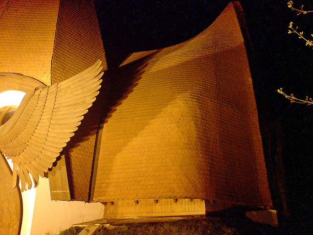Another low light picture of the lutheran church in Siofok designed by Imre Makovecz.     Siófok,