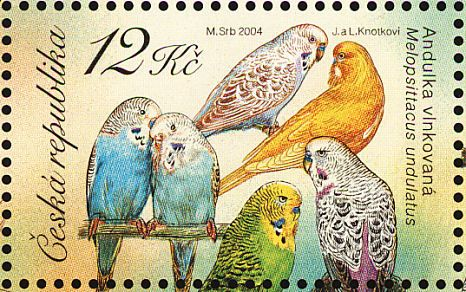Birds on stamps: Czech Republic, Budgerigar Melopsittacus undulatus,2004