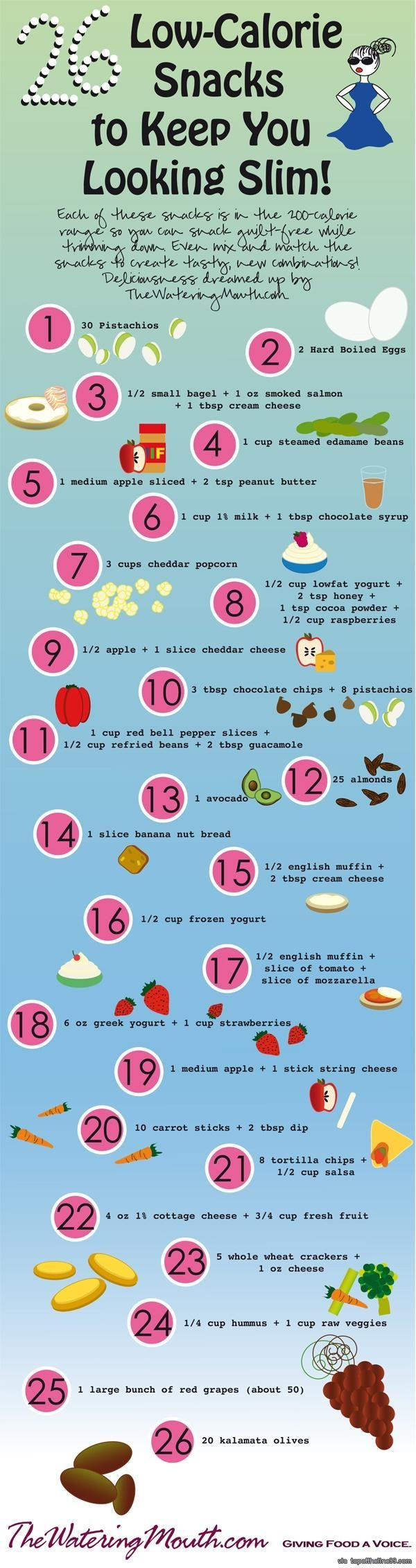 This #info #graphic makes a great quick reference of 26 Low-Calorie #Snacks.