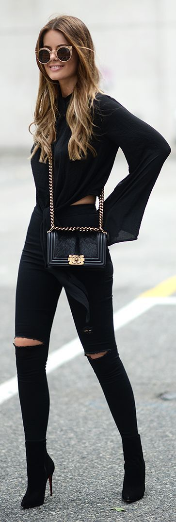 Black Chic Outfit With A Hint Of Gold On Everything Chain strap only if it's a Chanel