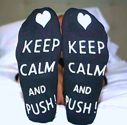 These super cute labor socks will keep your feet warm during labor and delivery. Non skid with the statement Keep Calm and Push! Don`t forget to pack these in your hospital bag. You will surely love t