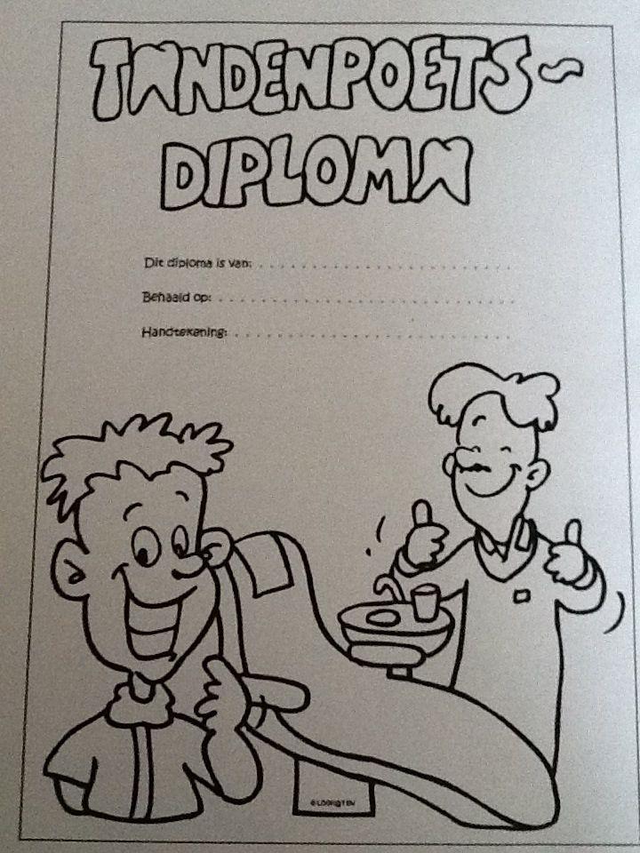 Tandenpoets diploma. Poets met de kinderen op school en geef ze daarna een diploma als ze volgens de stappen hebben gepoetst. Leuk uitje: ga op bezoek bij de tandarts in de omgeving.