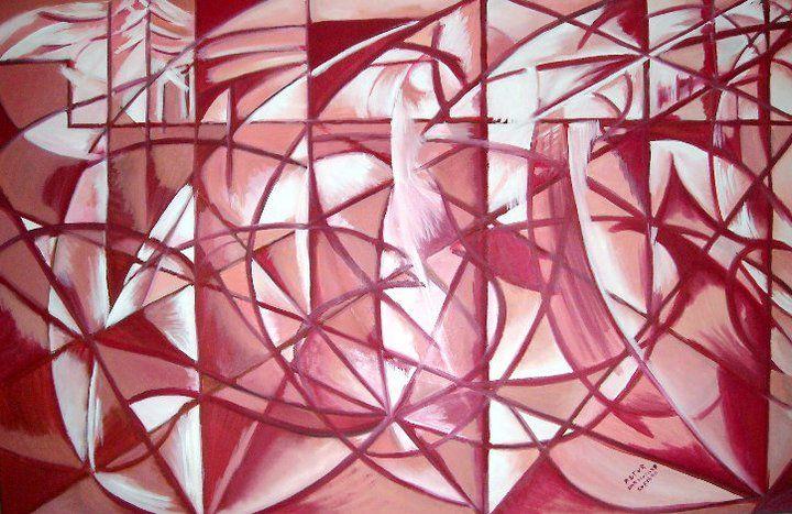 La velocità d'automobile + luce di Giacomo Balla (adattamento della copia : olio su tela 90x145 cm)
