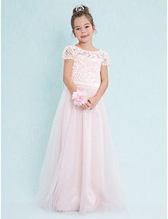Lanting Bride® Floor-length Lace / Tulle Junior Bridesmaid Dress A-line Scoop with Lace – USD $ 79.99